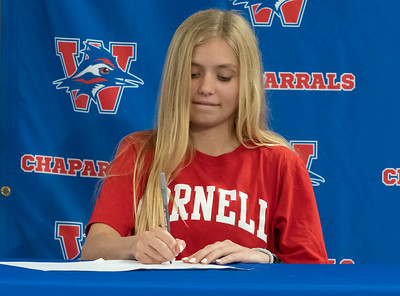 Cassidy Beard signs to run Cross Country/Track at Cornell University during the college signing day at Westlake High School on April 14, 2021. [PAUL BRICK]