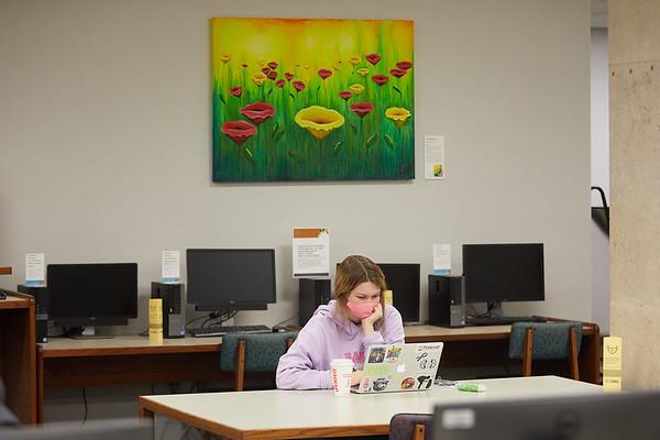 2020 UWL Student Studying Murphy Library 0059