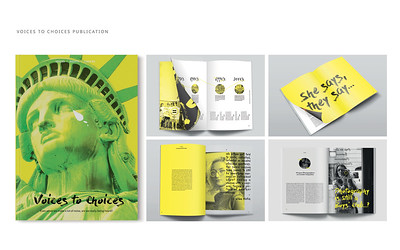 "Jinyu He (faculty: John Koziatek) - ""Voices to Choices Publication"" (Book Design)"