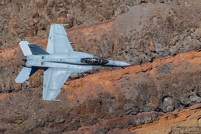 Military Jets flying low through Star Wars Canyon in Death Valley, California