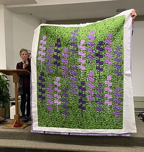 Deb Day also attended the Gudrun Erla class.  This is her version of the Lupine pattern