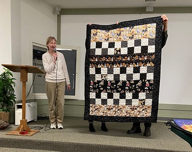 """Elaine Hewitt showed us a """"Chemo Quilt"""".  Elaine quilts for the chemo project and this was one that had not been delivered and Elaine thought we might like to see one of the finished quilts."""