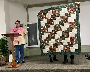 Jan Gagliano created this quilt from one of the kits put together by Jean and Jan from garage sale leftovers.  Three yard kit.  Top is going to the Chemo quilt project.