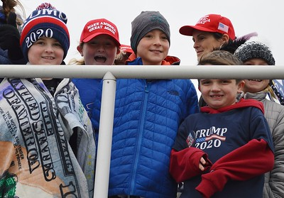 This group of young boys were among the Trump supporters who gathered on the boardwalk in Wildwood, N.J., above an area where anti-Trump protesters were staging a rally. The President spoke later at a nearby convention center.