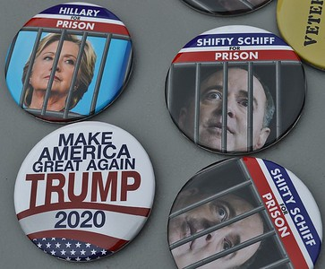 Hillary Clinton and House Intelligence Committee Chair Adam Schiff were the targets of these buttons on sale outside a Trump rally in Wildwood, N.J.