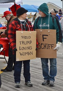 These two Donald Trump supporters were among the crowd who gathered in Wildwood, N.J. where the President spoke at the Convention Center.