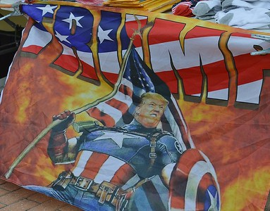 This banner for sale outside a Trump rally in Wildwood, N.J., featured the President as Captain America.