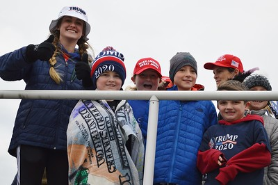 This woman and group of young boys were among the Trump supporters who gathered on the boardwalk in Wildwood, N.J. above an area where anti-Trump protesters were staging a rally. The President spoke later at a nearby convention center.