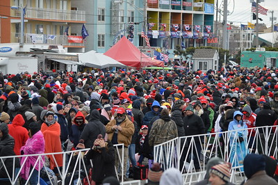 Thousands, braving the cold weather, gathered to watch Donald Trump on the giant screen TV outside the Wildwoods Convention Center (N.J.) where the President was to speak to a full house.