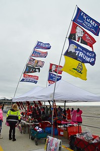 These pro-Trump flags were among the many items for sale by this vendor outside the convention Center in Wildwood N.J. where the President spoke later that evening.