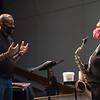 Professor Ricky Fleming talking with student after Jazz Ensemble class rehearsal at SUNY Buffalo State College.