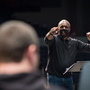 Professor Ricky Fleming conducting Jazz Ensemble class rehearsal at SUNY Buffalo State College.