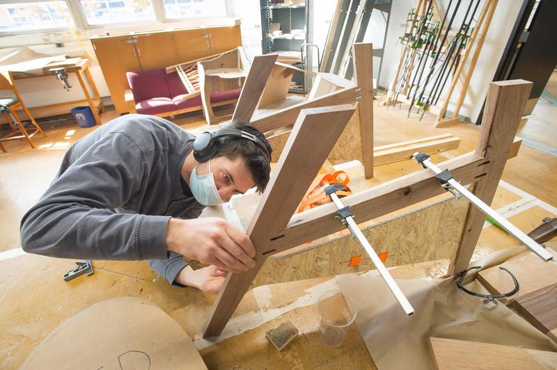 Students working in Associate Professor Sunhwa Kim's DES 250 Wood Design I class at SUNY Buffalo State College.