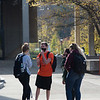 Students talking in the Plaza at SUNY Buffalo State College.
