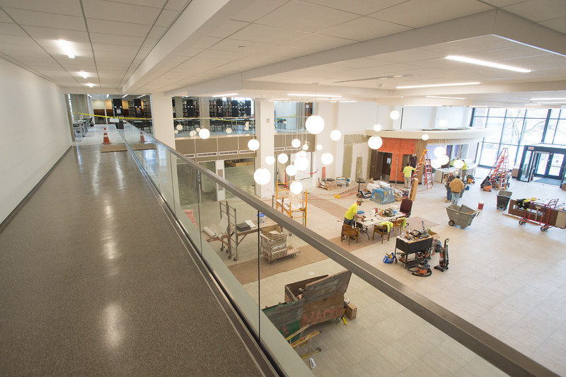 Academic Commons construction in the E.H. Butler Library at SUNY Buffalo State College.