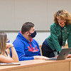 Anne Frank Project Assistant Director Eve Everette working with students in Learning Community class at SUNY Buffalo State College.