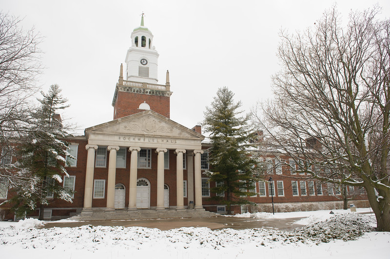 Winter scenic of Rockwell Hall at SUNY Buffalo State College.