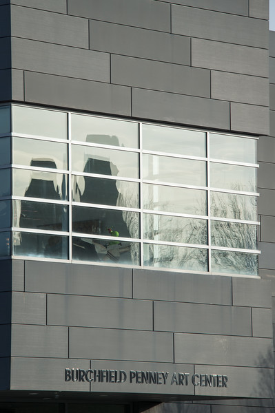 Reflections of Richardson Complex towers in Burchfield-Penney Art Center windows at SUNY Buffalo State College.