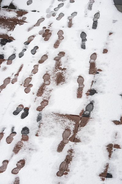 Footprints in the snow at SUNY Buffalo State College.
