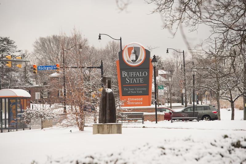 Buffalo State College sign near Elmwood Avenue at SUNY Buffalo State College.