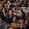 "Students listening to Dr. Crystal Fleming speaking on ""Race Stupidity"" , the keynote address during Black History Month activities at SUNY Buffalo State College."
