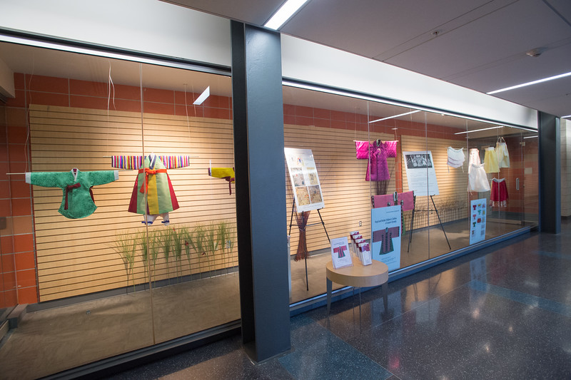 """""""Royal and Noble Children's Clothes of Joseon Dynasty"""" exhibit by Sanghee Park at SUNY Buffalo State College."""