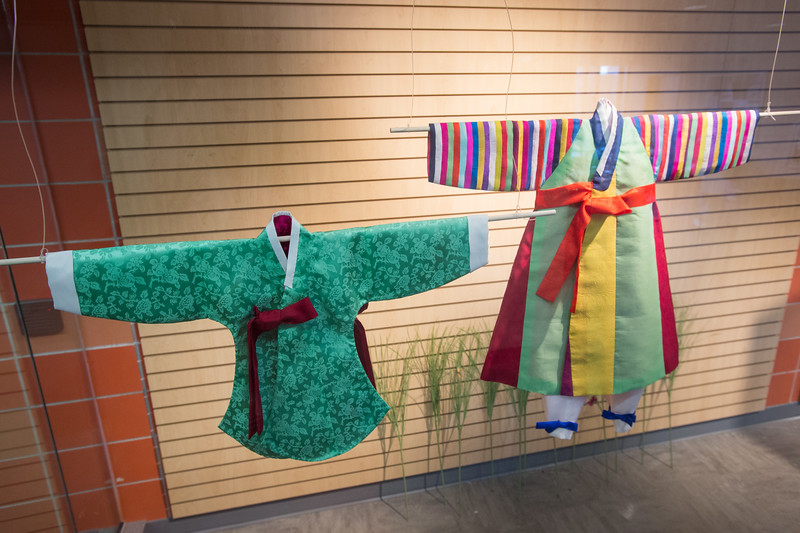 """Royal and Noble Children's Clothes of Joseon Dynasty"" exhibit by Sanghee Park at SUNY Buffalo State College."