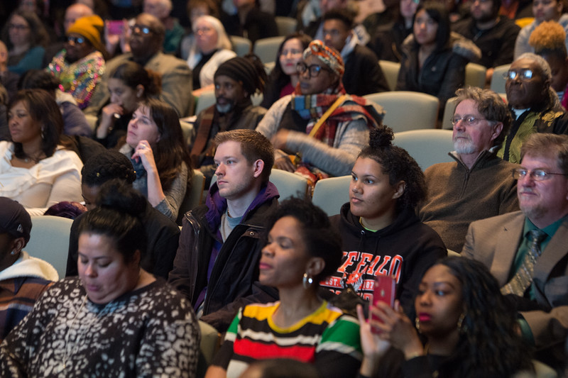 """Students listening to Dr. Crystal Fleming speaking on """"Race Stupidity"""" , the keynote address during Black History Month activities at SUNY Buffalo State College."""
