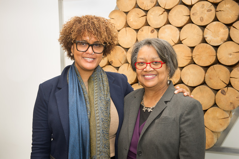 """President Katherine Conway-Turner and Dr. Crystal Fleming prior to Dr. Fleming speaking on """"Race Stupidity"""" , the keynote address during Black History Month activities at SUNY Buffalo State College."""
