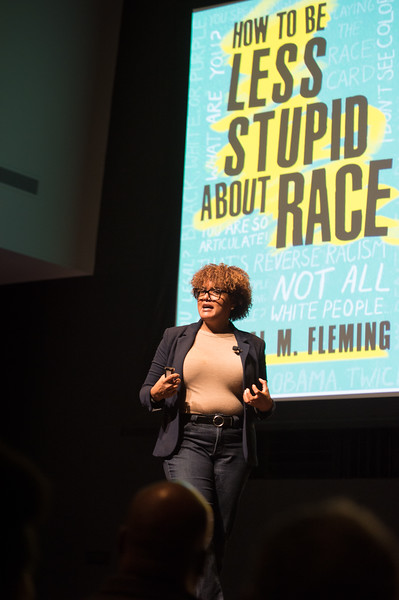 "Dr. Crystal Fleming speaking on ""Race Stupidity"" , the keynote address during Black History Month activities at SUNY Buffalo State College."