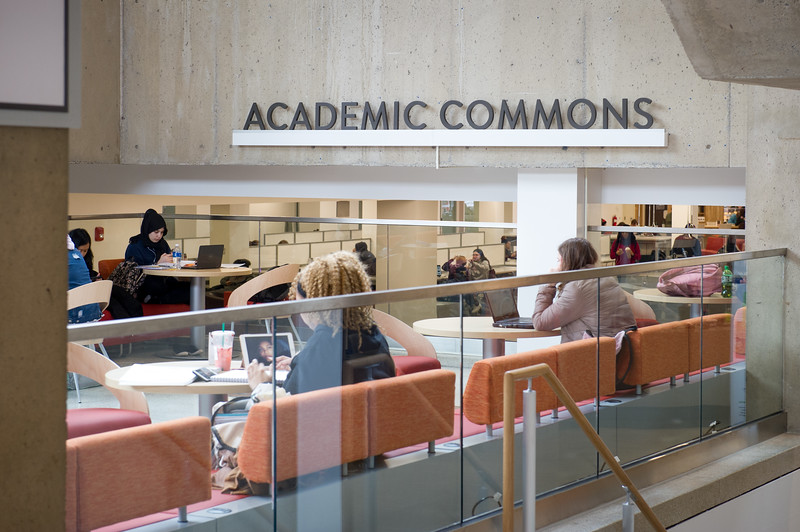 Academic Commons area of newly renovated E.H. Butler Library at SUNY Buffalo State College.