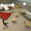 Social distancing preparations in Butler Library Academic Commons and Study Quad at SUNY Buffalo State College.