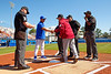 Florida Gators Baseball head coach Kevin O'Sullivan shakes hands with Troy University Trojans head coach Mark Smartt as the #1 Gators finish off the sweep of the Troy Trojans with a 7-1 win at McKethan Stadium in Gainesville, Florida on March 1st, 2020 (Photo by David Bowie/Gatorcountry)