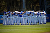 The Florida Gators baseball team gathers together pregame as the #1 Gators finish off the sweep of the Troy Trojans with a 7-1 win at McKethan Stadium in Gainesville, Florida on March 1st, 2020 (Photo by David Bowie/Gatorcountry)