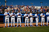 The Florida Gators stand for the national anthem as the #1 Gators finish off the sweep of the Troy Trojans with a 7-1 win at McKethan Stadium in Gainesville, Florida on March 1st, 2020 (Photo by David Bowie/Gatorcountry)