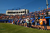 The Florida Gators and kids from the stands stand during the national anthem as the #1 Gators finish off the sweep of the Troy Trojans with a 7-1 win at McKethan Stadium in Gainesville, Florida on March 1st, 2020 (Photo by David Bowie/Gatorcountry)