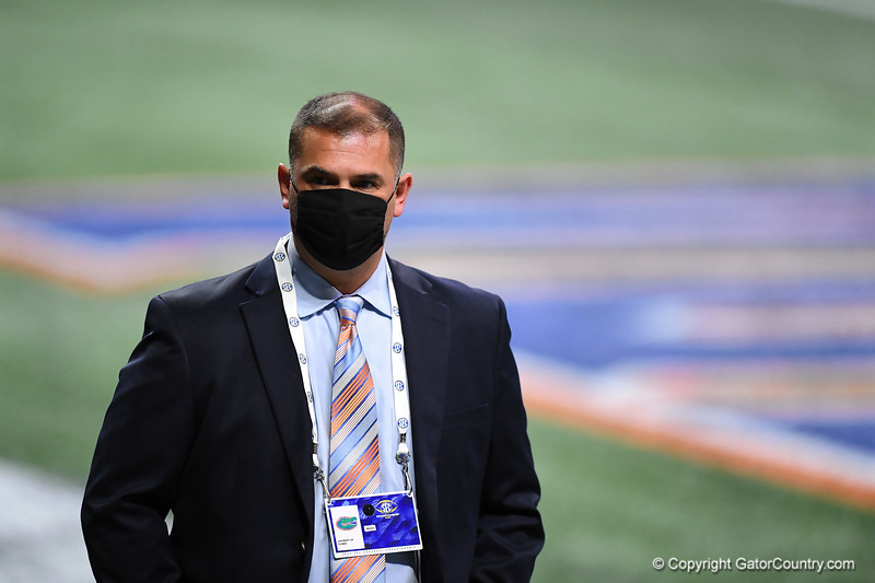 Florida Gators wide receivers coach Billy Gonzales during pre-game as the Florida Gators and Alabama Crimson Tide face off in the 2020 SEC Championship Ben Hill Griffin Stadium in Atlanta, Georgia on December 19th, 2020 (Photo by David Bowie/Gatorcountry)