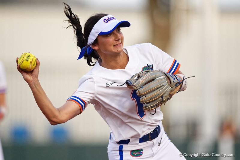 Florida Gators softball infielder Hannah Adams as the Gators hosted Team USA at Katie Seashole Pressly Stadium Gainesville, Florida on February 11th, 2020 (Photo by David Bowie/Gatorcountry)