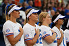 Florida Gators softball outfielder Jade Caraway,Florida Gators softball C/1B Kendyl Lindaman and Florida Gators softball catcher Julia Cottrill as the Gators hosted Team USA at Katie Seashole Pressly Stadium Gainesville, Florida on February 11th, 2020 (Photo by David Bowie/Gatorcountry)