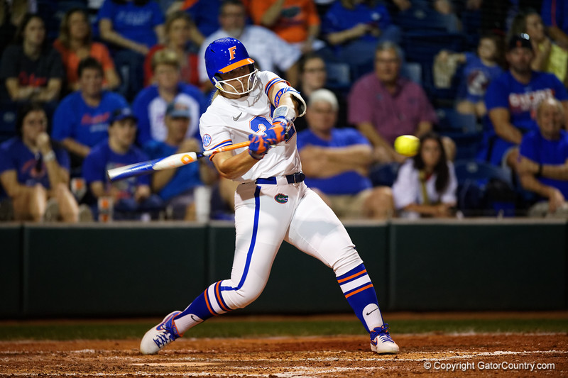 Florida Gators softball C/1B Kendyl Lindaman as the Gators hosted Team USA at Katie Seashole Pressly Stadium in Gainesville, Florida on February 11th, 2020 (Photo by David Bowie/Gatorcountry)