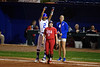 Florida Gators softball outfielder Cheyenne Lindsey celebrates after getting the Gators first hit as the Gators hosted Team USA at Katie Seashole Pressly Stadium in Gainesville, Florida on February 11th, 2020 (Photo by David Bowie/Gatorcountry)