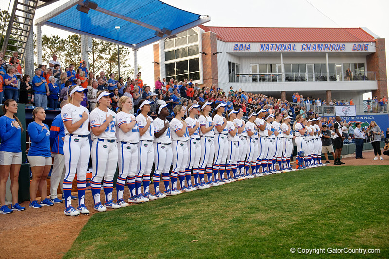 The Florida Gators softball team during the national anthem as the Gators hosted Team USA at Katie Seashole Pressly Stadium Gainesville, Florida on February 11th, 2020 (Photo by David Bowie/Gatorcountry)