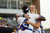 Florida Gators softball softball pitcher Katie Chronister gets a hug from Florida Gators softball outfielder Jaimie Hoover as she takes the field as the Gators hosted Team USA at Katie Seashole Pressly Stadium Gainesville, Florida on February 11th, 2020 (Photo by David Bowie/Gatorcountry)