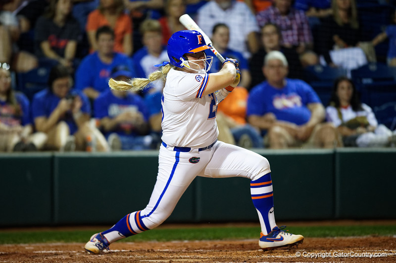 Florida Gators softball catcher Julia Cottrill as the Gators hosted Team USA at Katie Seashole Pressly Stadium in Gainesville, Florida on February 11th, 2020 (Photo by David Bowie/Gatorcountry)