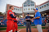 Former Florida Gator Greats Michelle Moultrie, Aubree Munro and Kelsey Stewart meet Florida Gators softball head coach Tim Walton at home plate as the Gators hosted Team USA at Katie Seashole Pressly Stadium Gainesville, Florida on February 11th, 2020 (Photo by David Bowie/Gatorcountry)