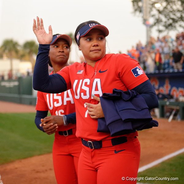 Former Gator Greats Michelle Moultrie and Kelsey Stewart as the Gators hosted Team USA at Katie Seashole Pressly Stadium Gainesville, Florida on February 11th, 2020 (Photo by David Bowie/Gatorcountry)