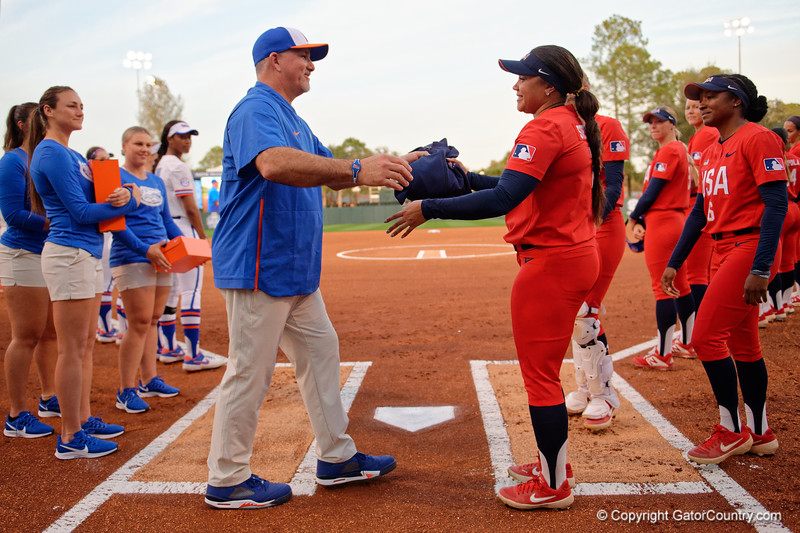 Former Gator Great Kelsey Stewart and Florida Gators softball head coach Tim Walton as the Gators hosted Team USA at Katie Seashole Pressly Stadium Gainesville, Florida on February 11th, 2020 (Photo by David Bowie/Gatorcountry)