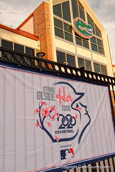 The Stand Beside Her USA Softball Tour Banner as the Florida Gators hosted Team USA at Katie Seashole Pressly Stadium Gainesville, Florida on February 11th, 2020 (Photo by David Bowie/Gatorcountry)