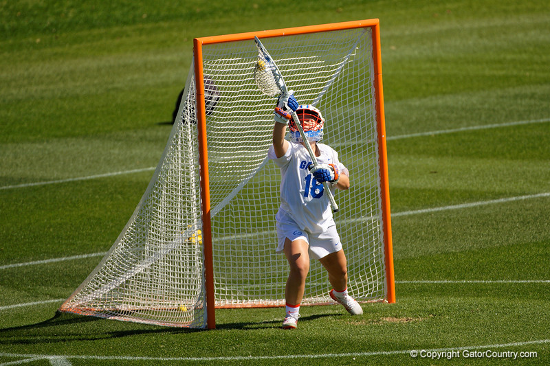 Florida Gators womens lacrosse goalie Sarah Reznick during the pregame as the #8 ranked Gators come from behind to beat the #3 ranked Stony Brook Seawolves 12-10 at Donald R. Dizney Stadium in Gainesville, Florida on February 29th, 2020 (Photo by David Bowie/Gatorcountry)