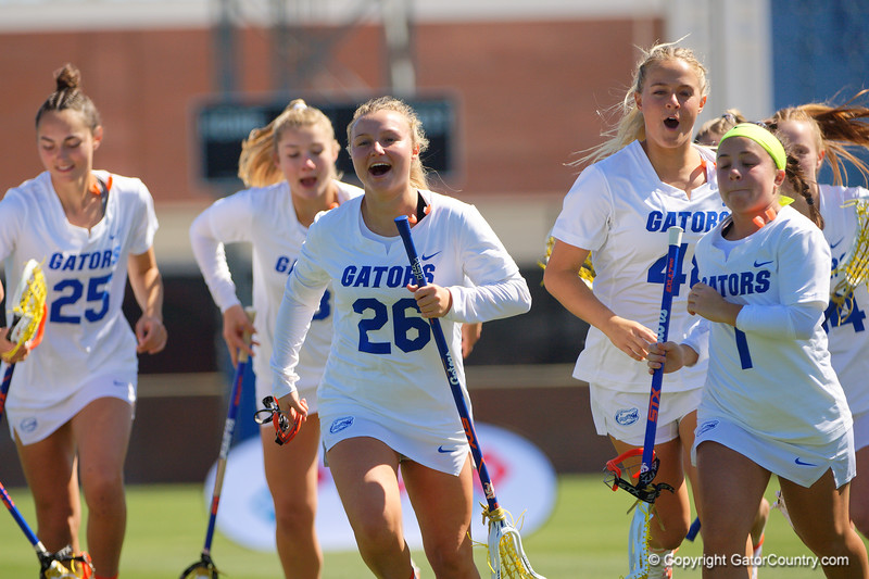 Florida Gators womens lacrosse attack/midfielder Jill Quigley during the pregame as the #8 ranked Gators come from behind to beat the #3 ranked Stony Brook Seawolves 12-10 at Donald R. Dizney Stadium in Gainesville, Florida on February 29th, 2020 (Photo by David Bowie/Gatorcountry)